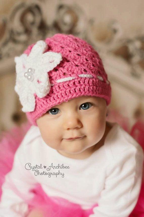 Crochet newborn girl hat,  baby girl hat with a big white flower, pink hat got a baby girl , Crochet baby hat,  infant girl  hat