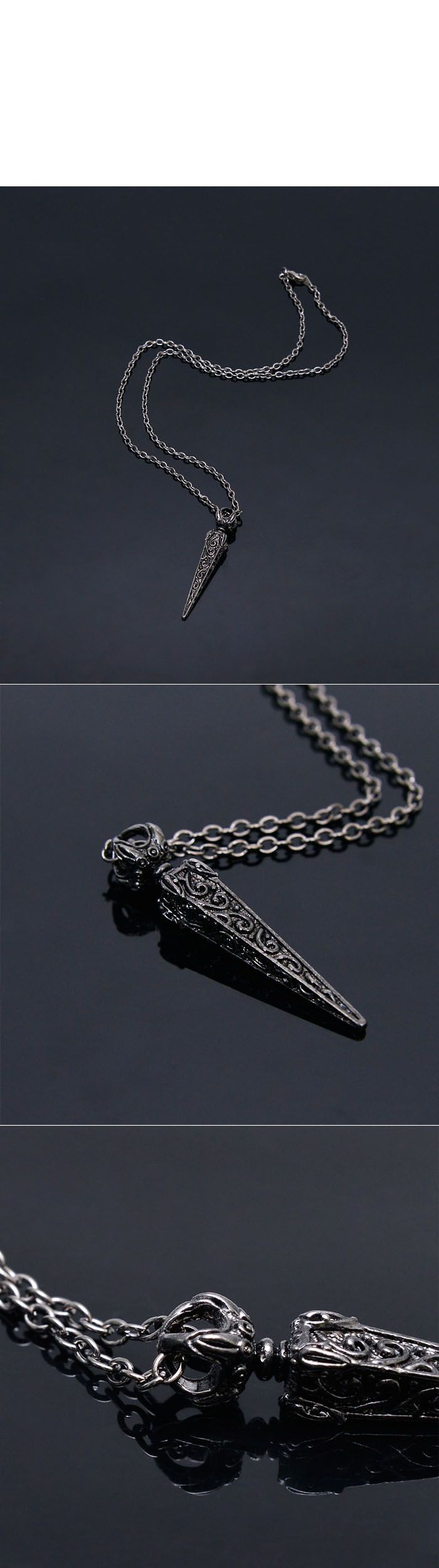 Accessories :: Necklaces :: Antique Engraving Triangle Short-Necklace 225 - Mens Fashion Clothing For An Attractive Guy Look ~Don't Forget to Follow V.C.~