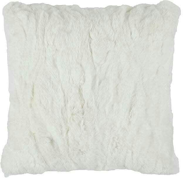 Adrienne Landau Rabbit Fur Pillow Pillows Fur Pillow White Toss Pillows