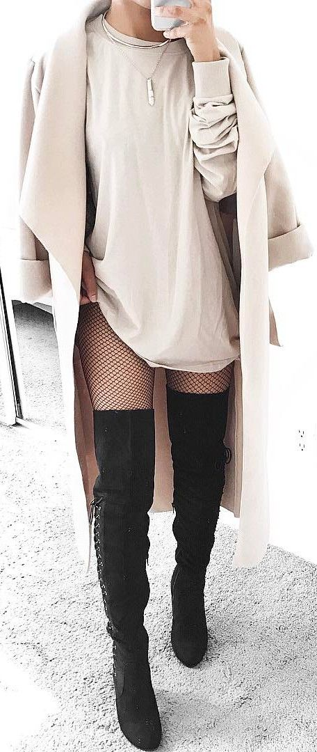 fishnet tights mixed with all nude