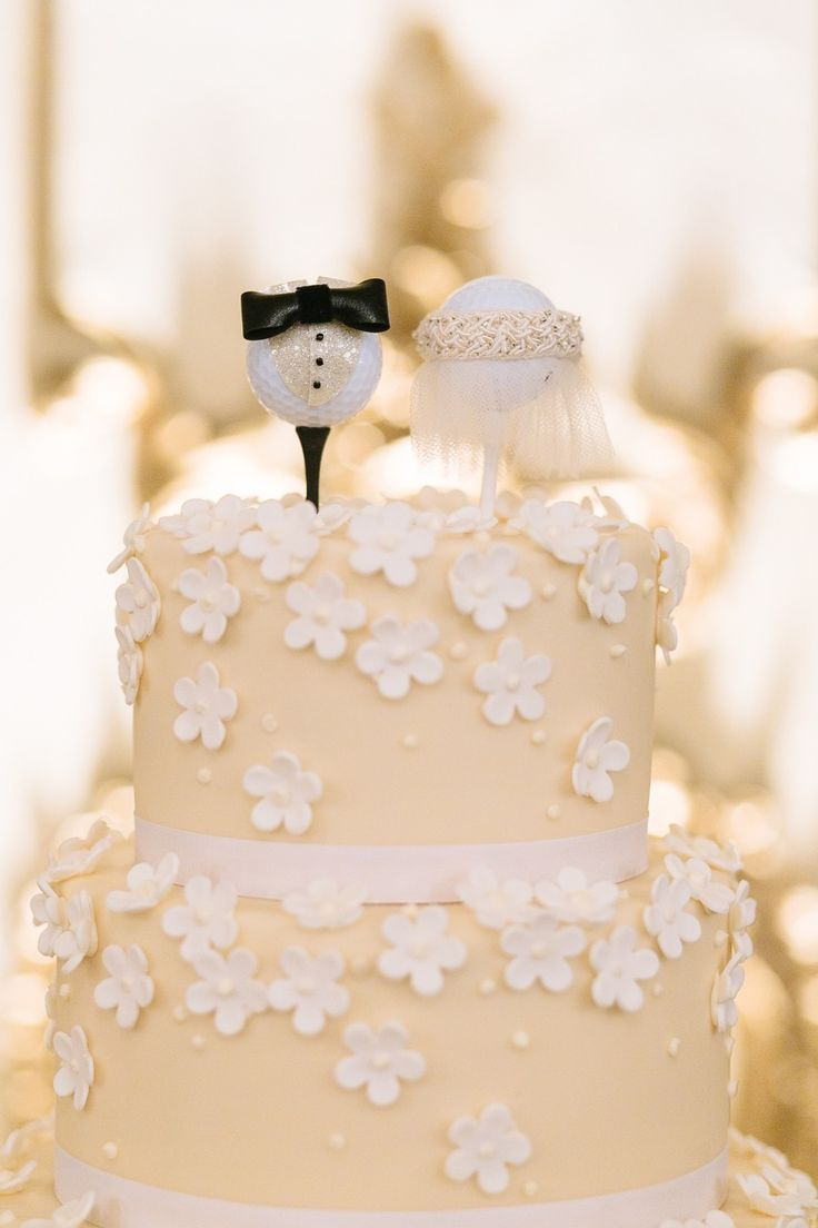 #cake-toppers, #golf  Photography: U Me Us Studios - umeusstudios.com  Read More: http://www.stylemepretty.com/california-weddings/2014/05/21/elegant-blush-gold-wedding-at-the-fairmont/