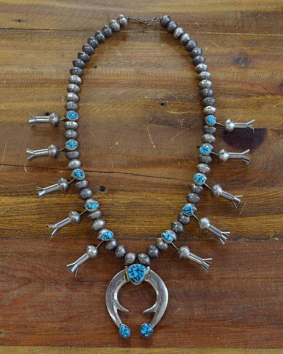 Vintage Navajo Turquoise Mercury Dime Sterling Silver Squash