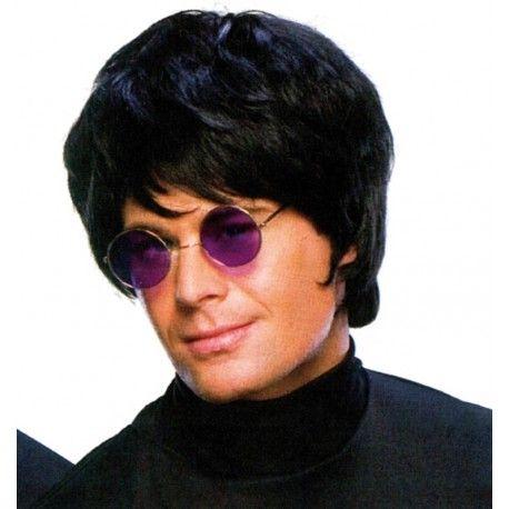 Perruque pop star noire homme style Elton John années 70-80