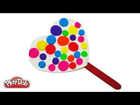 Play Doh How to Make a Rainbow Heart Ice Cream Popsicle DIY Fun Happy Rainbow