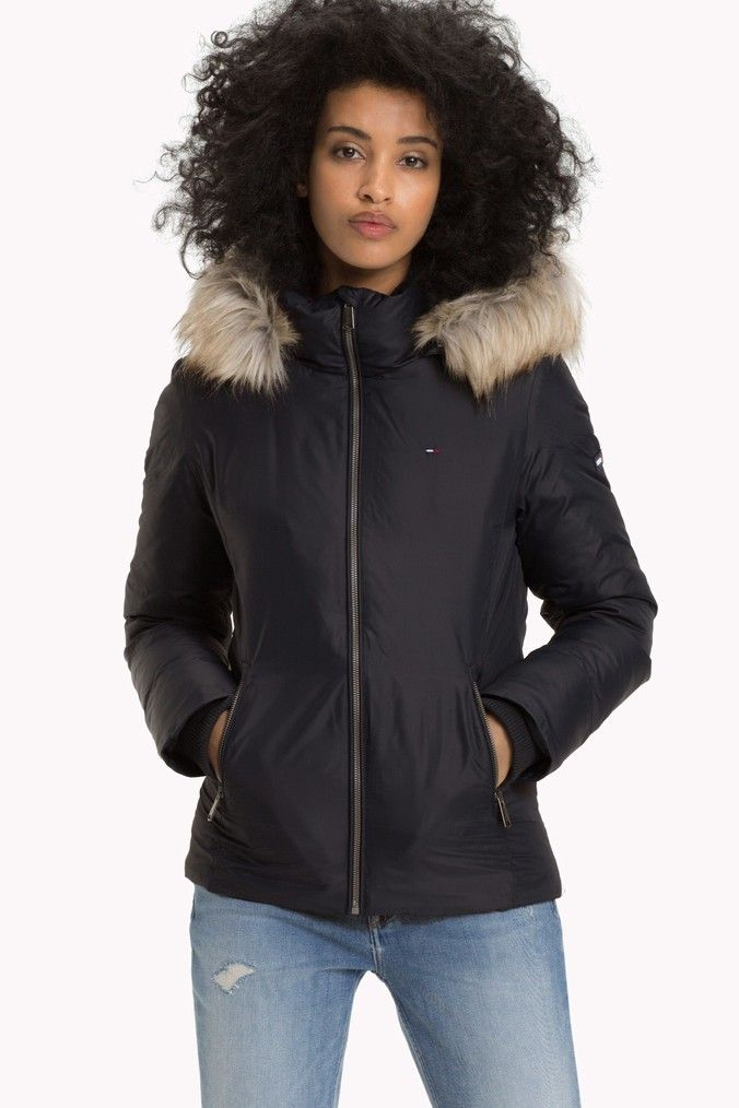 arriving authorized site arriving Womens Tommy Jeans Black Hooded Down Jacket - Black | Fashion ...