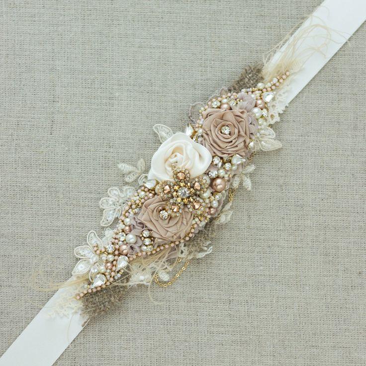 RESERVED Bridal sash Burlap Rustic Gold Blush Rose by LeFlowers