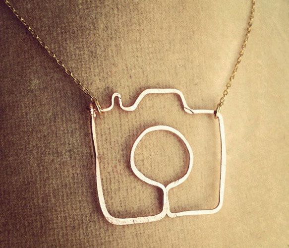 Wire camera pendant necklace. Would be a nice gift for wedding photographer.