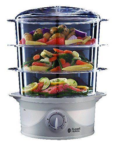 Electric Food Steamer 3 Tier Compact Kitchen Timer Cooker Water Inlets Drip Tray