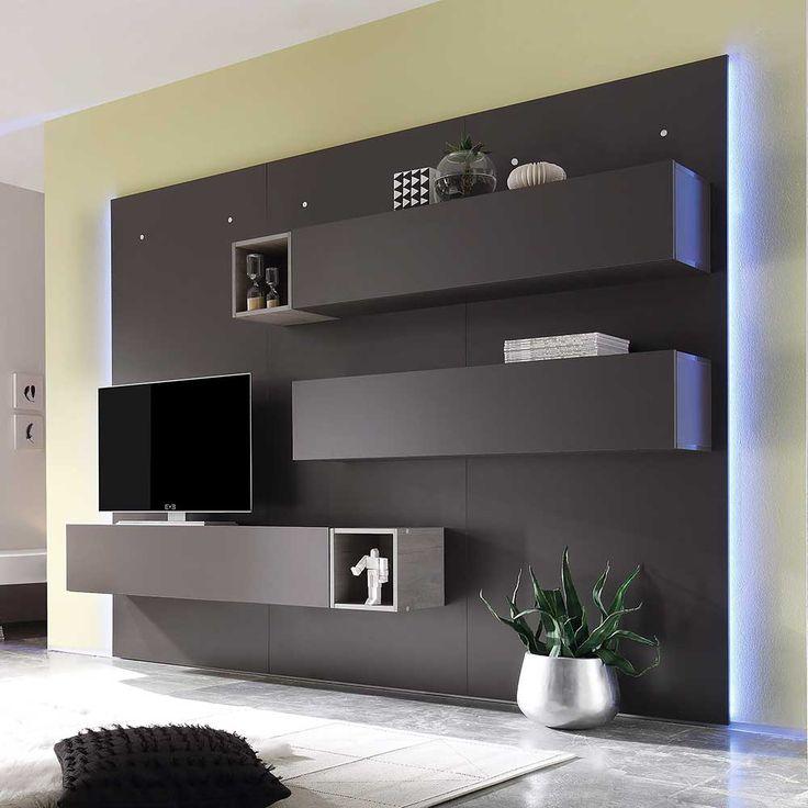 TV Wand In Dunkelgrau Eiche 270 Cm Breit 8 Teilig