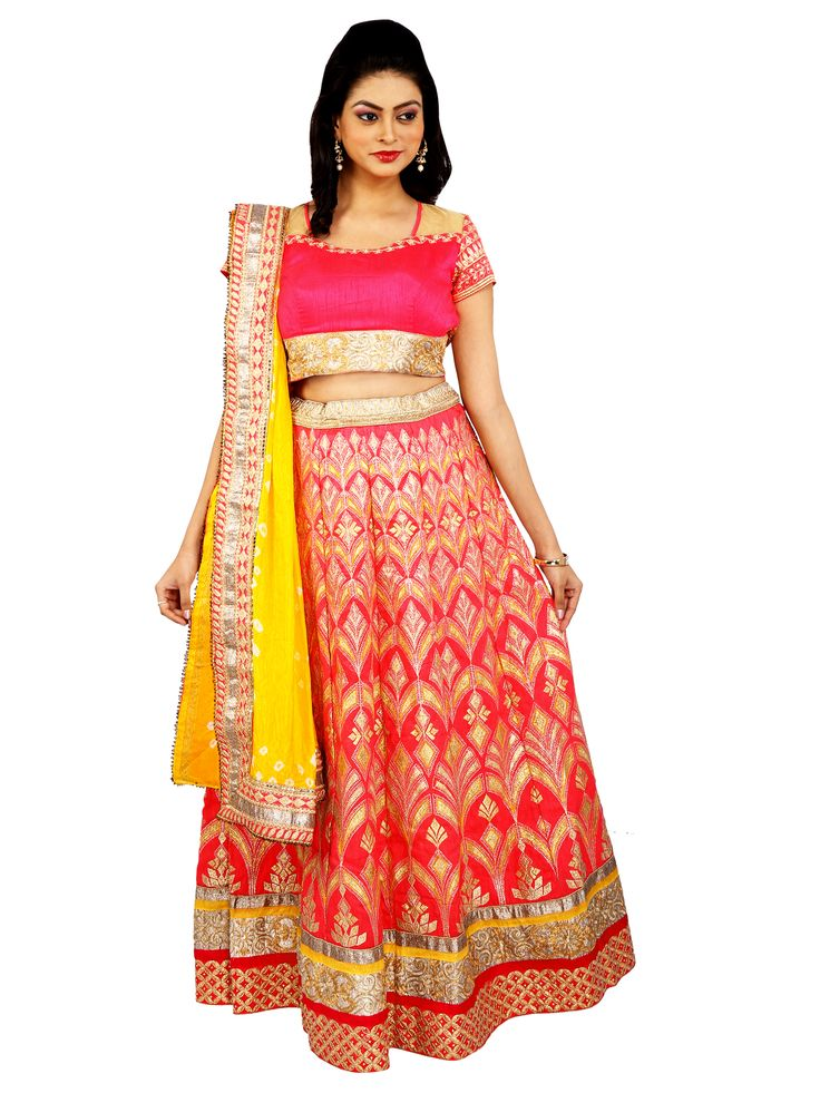 Hot Pink and Yellow Bridal Heavy Lehenga