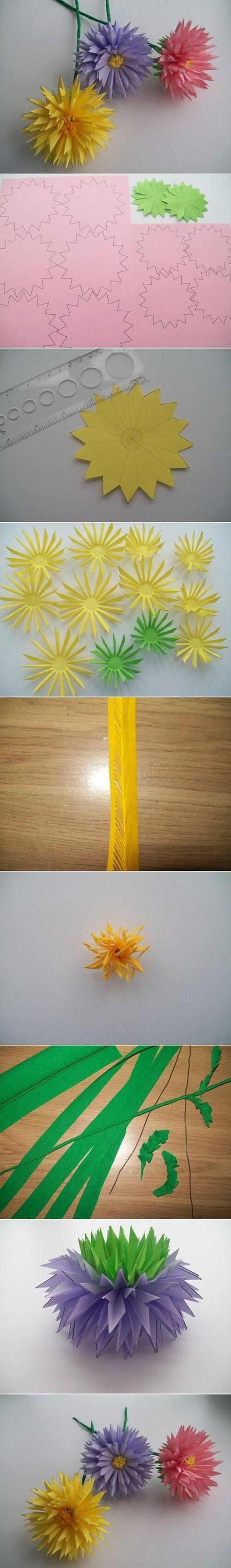 DIY Paper Asters diy craft crafts diy crafts craft flowers craft decor paper crafts teen crafts crafts for teens craft ideas diy ideas diy decorations. origami