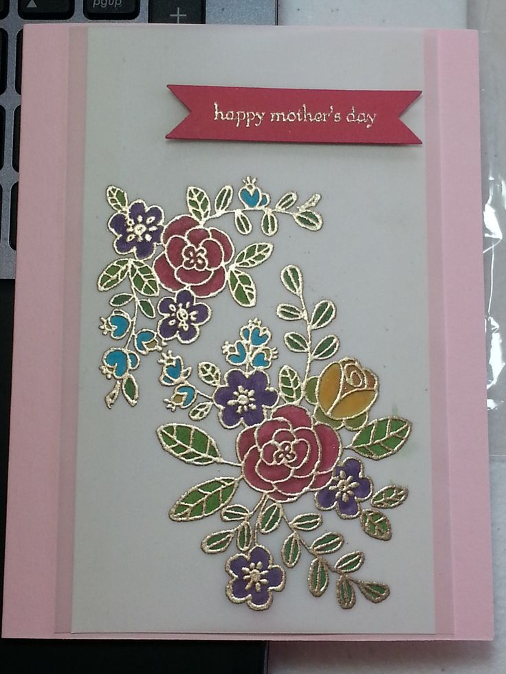 Wonderful Card Making Ideas Using Vellum Part - 8: Motheru0027s Day Card: Stained Glass Technique On Vellum . By Cate Kager .  Emboss Flowers With Coloring From Back Side .