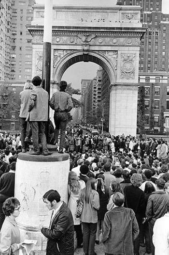 1968 Protest in Washington Square Park, Greenwich Village, against backdrop of Washington Square Arch.