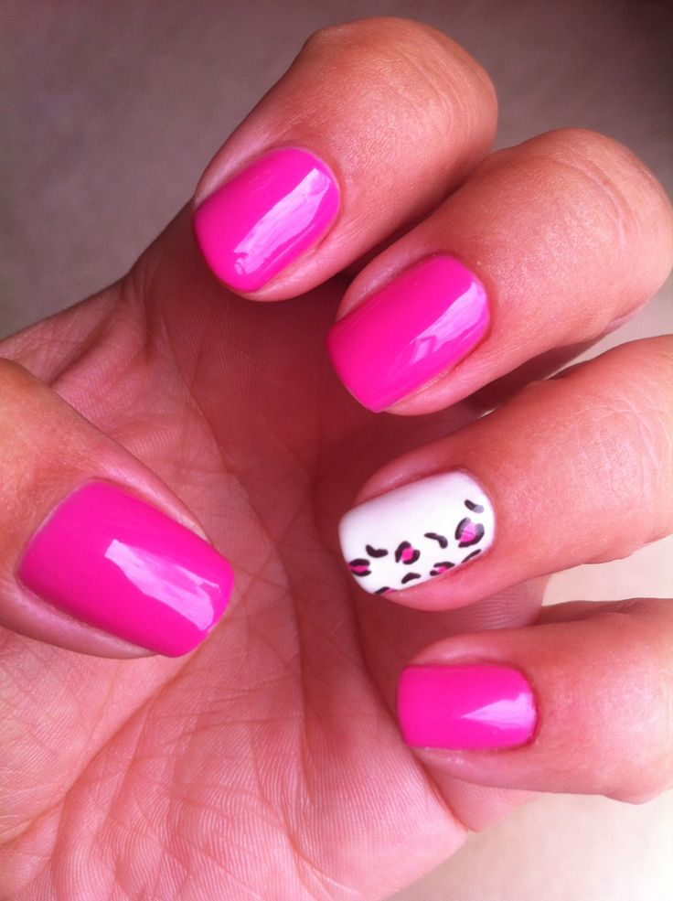 My hot pink shellac mani with a leopard print accent nail.