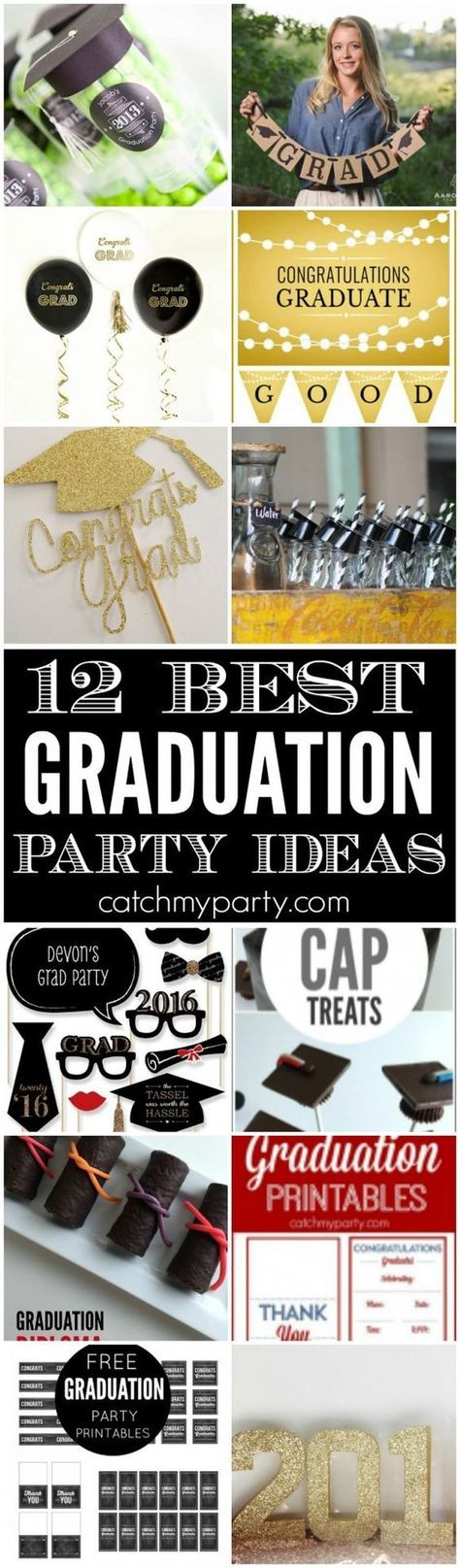 12 Best Graduation Party Ideas including decorations, treats, desserts, free party printables, party favors, and more! | Catchmyparty.com