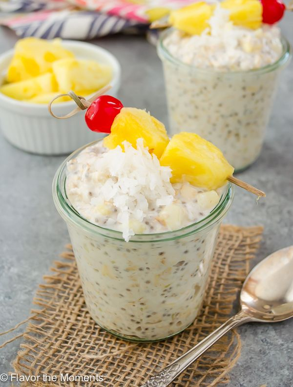 Pina Colada Chia Overnight Oats are creamy overnight oats with chia seeds, coconut, Greek yogurt, and plenty of fresh pineapple. They're a breakfast that feels like a tropical getaway! @FlavortheMoment