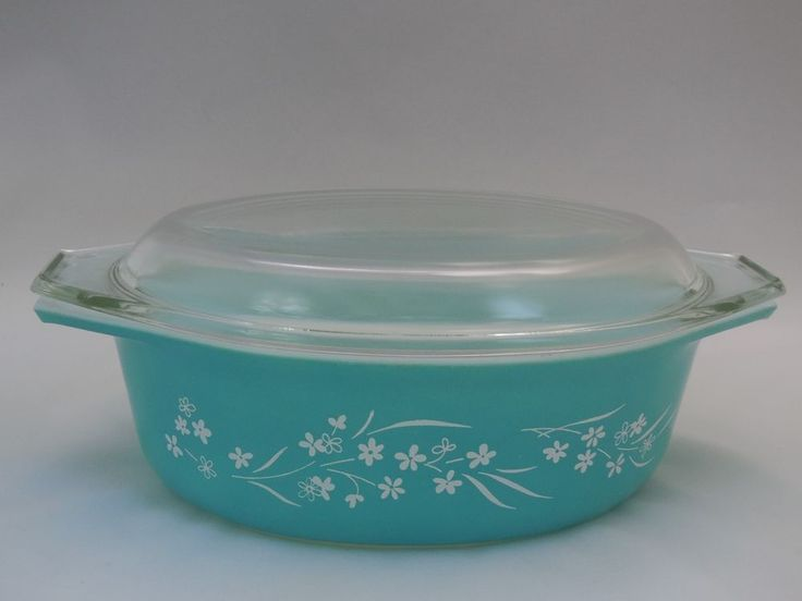 Sold for $465.  1961 Promotional Pyrex Turquoise BLOSSOM BREEZE Oval Casserole Baking Dish RARE | Pottery & Glass, Glass, Glassware | eBay!