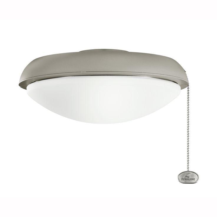 Kichler 380910ANS Climates Low-Profile Fan Light Kit in Antique Satin Silver