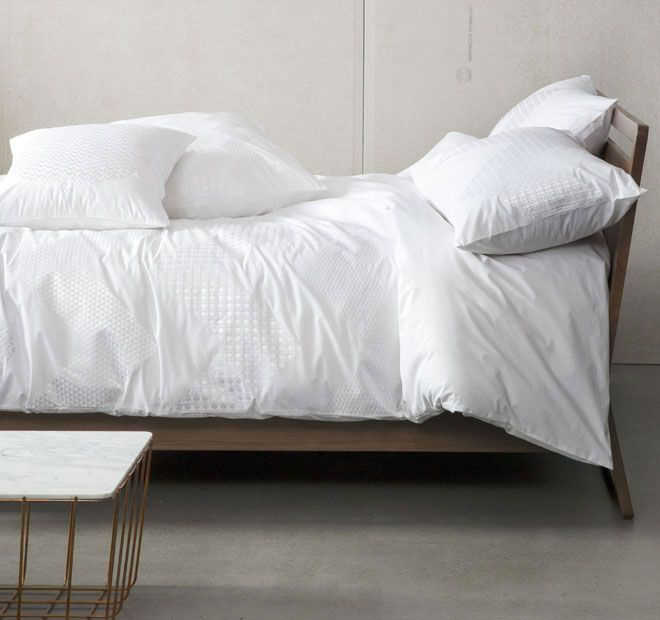 Zig Zag White KAS ROOM  Features: Cotton 250 thread count Embroidered - #quiltcovers