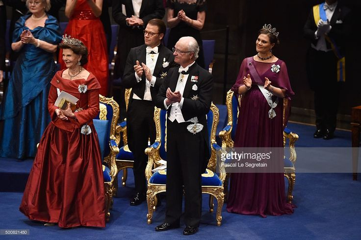 (L-R) Queen Silvia, Prince Daniel, King Carl XVI Gustaf of Sweden and Crown Princess Victoria attend the Nobel Prize Awards Ceremony at Concert Hall on December 10, 2015 in Stockholm, Sweden.  (Photo by Pascal Le Segretain/Getty Images)