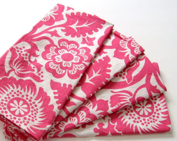 Large Cloth Napkins  Set of 4  Pink White by ClearSkyHome on Etsy, $18.00
