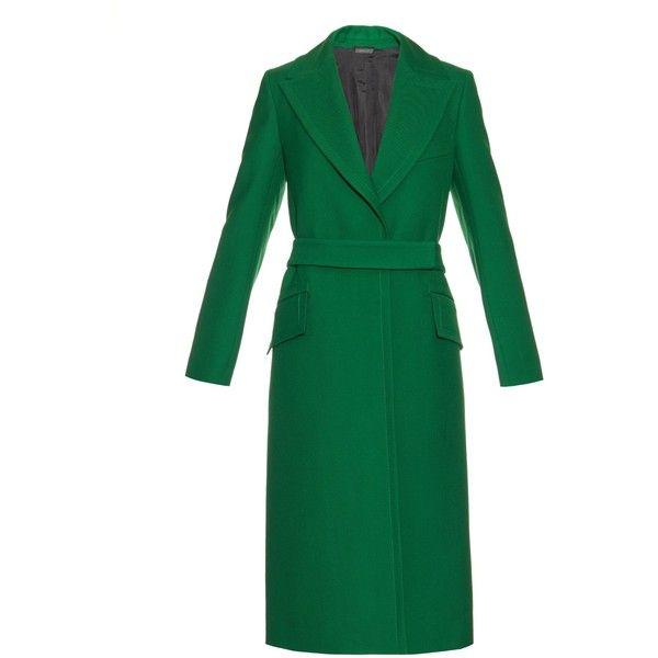Jil Sander Varallo wool-gabardine coat found on Polyvore featuring outerwear, coats, coats & jackets, green, jil sander, waist belt, jil sander coat, green coat and wool gabardine coat