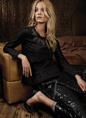 TWIN-SET Simona Barbieri, 2015/16 winter jeans collection: mesh coupled brushed sweatshirt with flock polkas and rhinestone and bead jewel, soft-fit jeans with destroyed wash and all-over black sequins and leather court shoes with set stone
