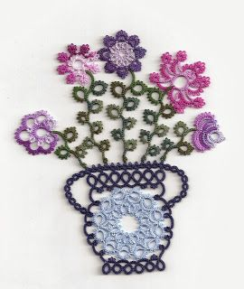 Tatting Fool: Flower Pot II from Tatted Treasures by Jan Stawasz