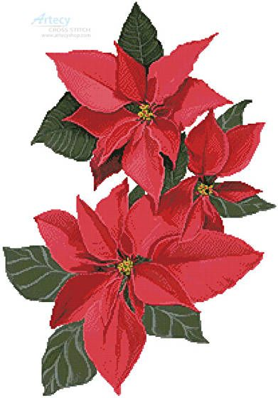 Poinsettia Flowers - Christmas cross stitch pattern designed by Tereena Clarke. Category: Flowers.