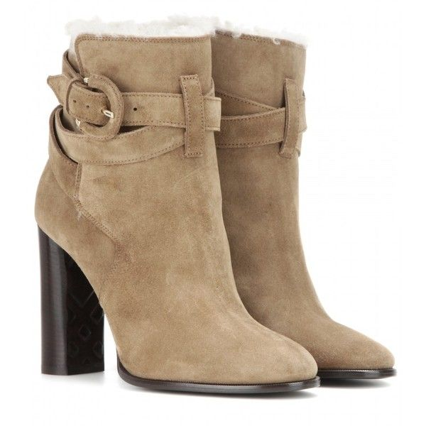 Burberry Brit Stackholme Suede Ankle Boots ($1,040) ❤ liked on Polyvore featuring shoes, boots, ankle booties, ankle boots, botas, burberry, brown, suede boots, burberry boots and brown bootie