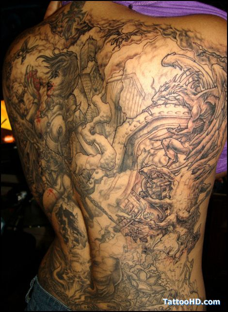 40 best angel fighting demon tattoo images on pinterest for Back mural tattoo designs