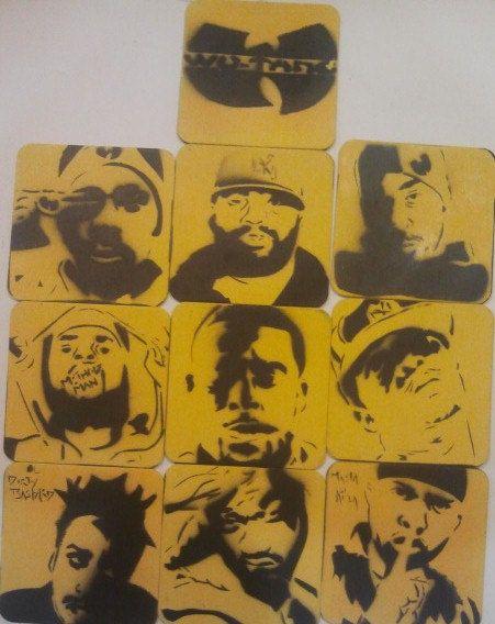 Wu Tang Members Coaster Set by PaintingsThatPop on Etsy