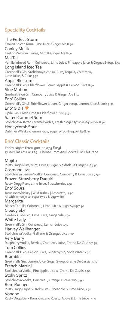 Cocktail List #eatateno  www.eno.ie