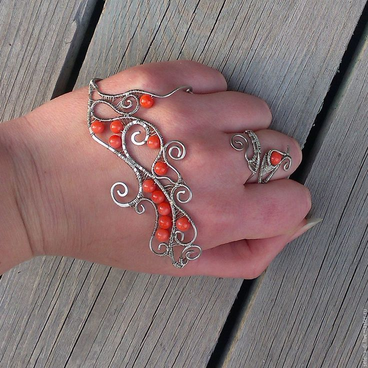 Buy and order Palm bracelets coral wire wrap on Livemaster online shop. Shipped over Russia and the CIS. Production time: <br />. Materials: nickel silver, coral. Dimensions: Palm width 8-8,5. 16-18,5 cm,…