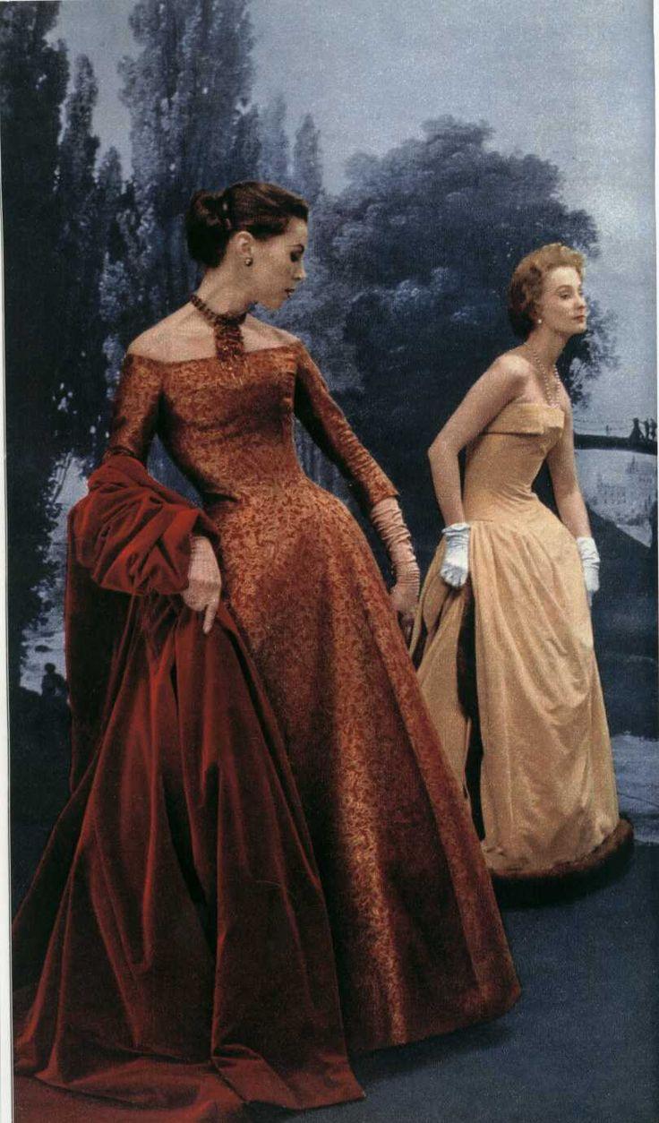 dior copper dress winter 1954
