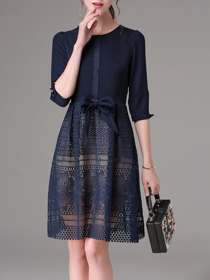 Shop Mini Dresses - Navy Blue Crew Neck A-line Lace Casual Mini Dress online. Discover unique designers fashion at StyleWe.com.