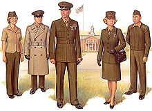 """Officer Service Uniform. From left to right:""""C"""", Service with all-weather coat, """"A"""", """"A"""", Service with sweater"""