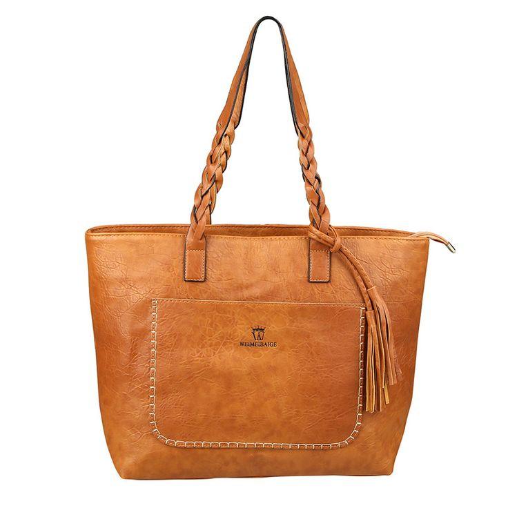 2017 PU Leather Women's Handbag Vintage Tassel Design Bolsas Mujer Fashion Shoulder Bag Chic Shopping Tote Bags XA1687C