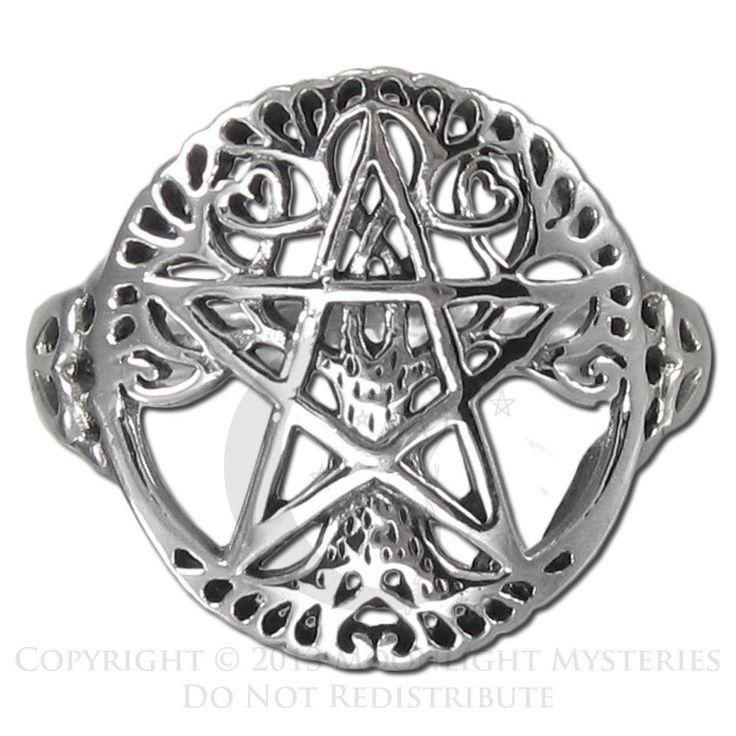 Sterling Silver Cut Tree Pentacle Pentagram Ring | Dryad Design | Wiccan Pagan #DryadDesigns #Band