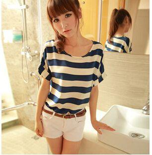 Fashion Women Summer Blouses Women Casual Loose Cheap Strip/Lips/Floral Short Sleeve Chiffon blouse Strip O-Neck Shirt http://tinyurl.com/ngzy4ue #womenfashion #top #tshirt #fashiontshirt