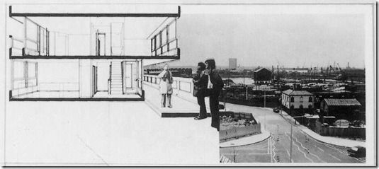 Photomontage of the gallery | Alison and Peter Smithson | Robin Hood Gardens housing estate, London [1966-72]