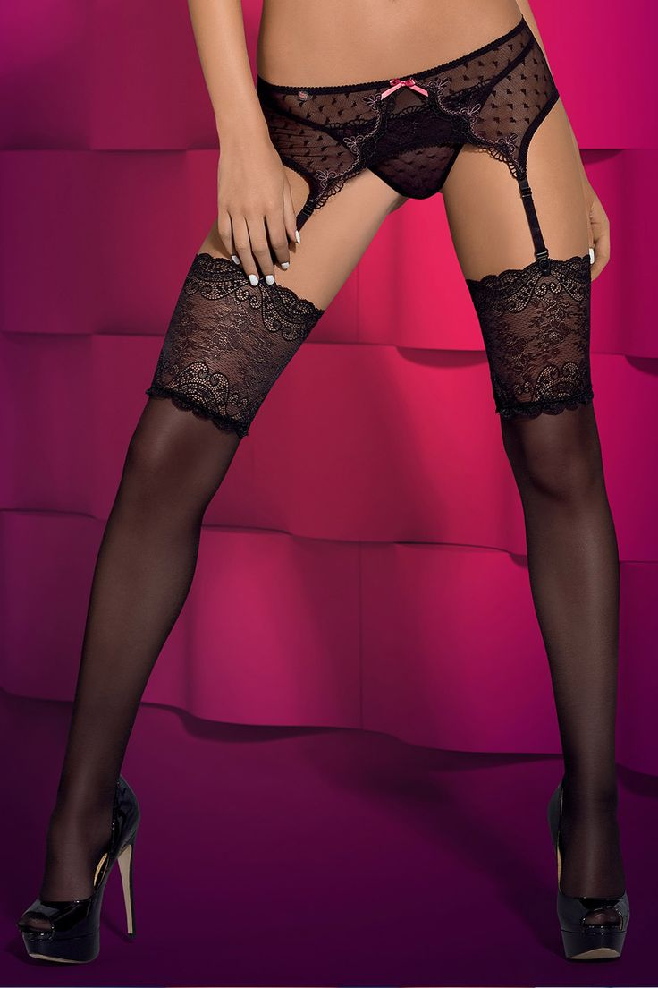 Subtelia stockings black || Feminine and seductive black colour mixed with stunning floral adornment with set your lover's senses on fire! || #obsessive #lingerie  #obsessivelingerie #stockings #garterstockings #spicy #sexy #black || obsessive.com