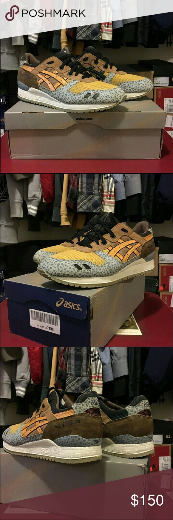 custom Asics Gel Lyte III Custom one of one Asics Gel Lyte III. Designed like Air Max 1 Atmos Safari. Men's size 12.5 brand new never worn. I paid $250 for these customs. Price is firm   Supreme Palace Bape Bathing Ape Yeezy Kith Nike Adidas FTP Asics Shoes Sneakers