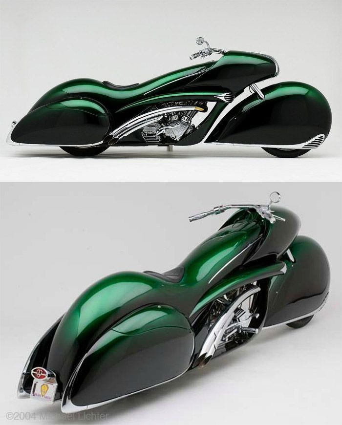 Art deco motorcycle - designed and built by master bike builder Arlen Ness ( http://silodrome.com/smoothness-by-arlen-ness/ )