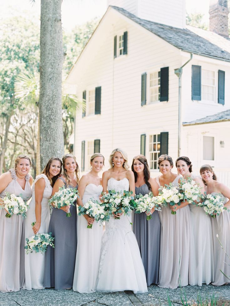 Peony Bouquet | Bridesmaids in Naturals | Photography by The Happy Bloom Fine Art Photography | Southern Wedding | Fine Art Bride | Dafuskie Island | Fuji 400 | Spring Inspiration | Grey and Taupe