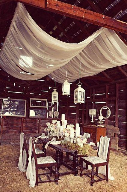 Love!: Wedding Ideas, Barn Weddings, Dinner Parties, Table Setting, Dinner Party, Sheer Fabric, Draped Ceiling, Ceiling Idea, Barn Dinner