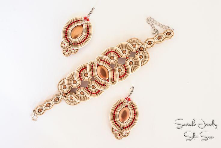 Handmade Soutache earrings and bracelet