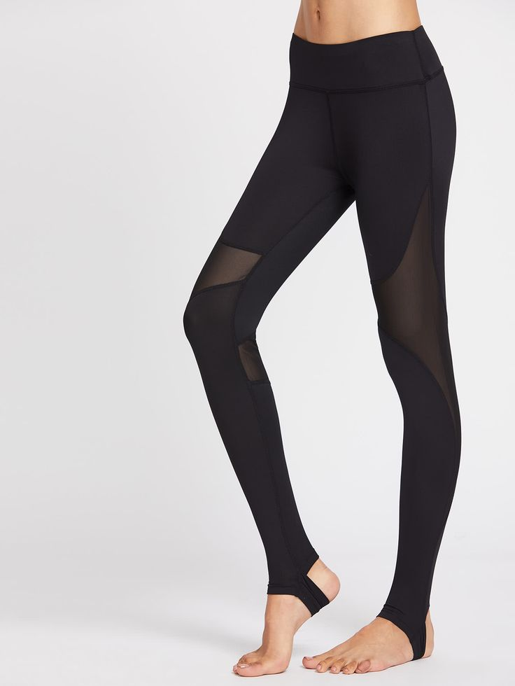 Shop Wide Waistband Mesh Panel Stirrup Leggings online. SheIn offers Wide Waistband Mesh Panel Stirrup Leggings & more to fit your fashionable needs.