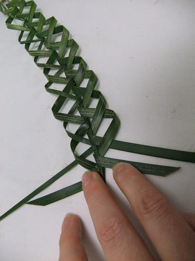 Plaiting a palm thorn garland - DIY