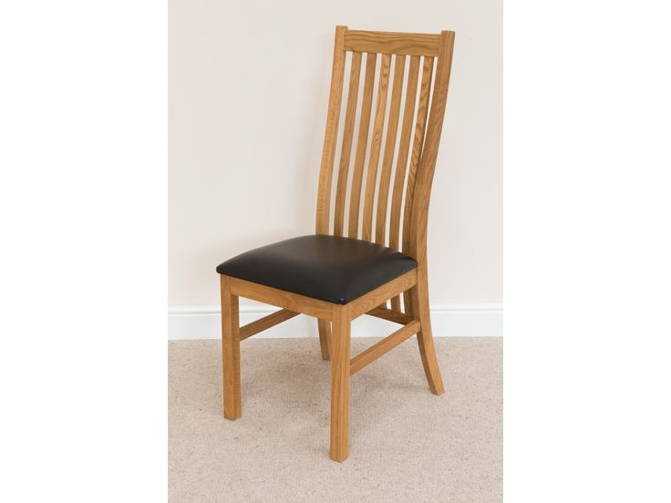Lichfield Solid Oak Dining Room Chair With Black Leather Pad Red Churchill